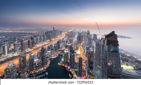 Beautiful Dubai Marina area and sea shore during sunset at evening, Dubai, UAE