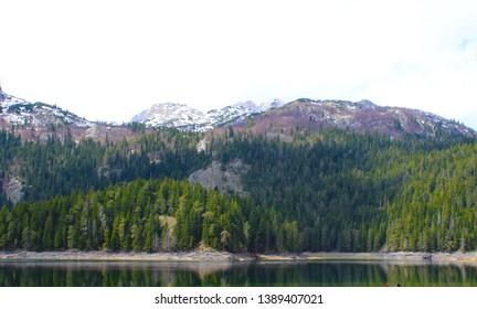 Beautiful Durmitor National Park. Meded peak, and Black Lake, Crno jezero, Zabljak, Montenegro