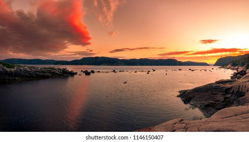 Beautiful dusk on the Saguenay Fjord in Quebec Canada