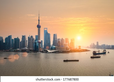 beautiful dusk scene of shanghai skyline and huangpu river