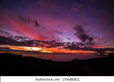 Beautiful Dusk Sunset Over The Sea With Vivid Colours