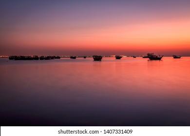 Beautiful dusk view at Dammam Corniche -Saudi Arabia
