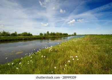 A beautiful dutch polder landscape in springtime
