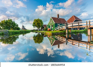 Beautiful Dutch scenery of the Zaanse Schans in The Netherlands at Sunset