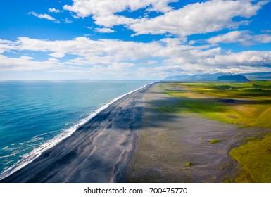 Beautiful Dyrholaey Black Sand Beach on South Coast of Iceland.