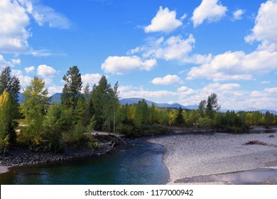 Beautiful early fall day on the North Fork Flathead River near Glacier National Park in Montana
