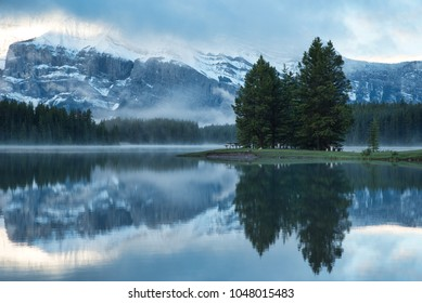 Beautiful early morning sunrise at Two Jack Lake Front on Lake Minnewanka in Banff National Park in Alberta Canada