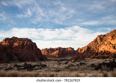 Beautiful early morning winter view of Snow Canyon State Park in Southern Utah.