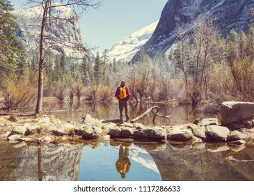 Beautiful early spring landscapes in Yosemite National Park, Yosemite, USA