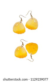 Beautiful earrings made of the hindwings of a orange-barred sulphur (Phoebis philea)
