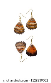 Beautiful earrings made of the hindwings of a red lacewing (Cethosia biblis)