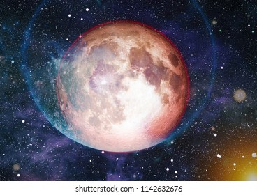 Beautiful Earth and the red Moon - Elements of this Image Furnished By NASA