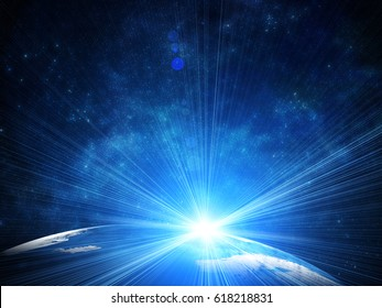Beautiful earth in space, with flush of sun and stars. Some elements of this image furnished by NASA