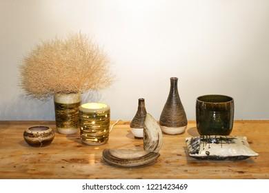 beautiful earthenware on wooden table