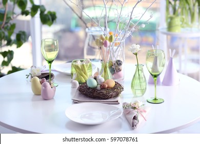 Beautiful Easter setting against blurred background