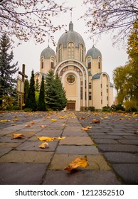 beautiful eastern church in Ukraine during with autumn leaves