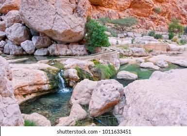 Beautiful Eastern landscape. Wadi Bani Khalid. Wadi Shab. Oman.