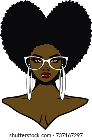 Beautiful ebony woman with afro heart hairstyle sunglasses and earrings / Love my Hair / loving my afro
