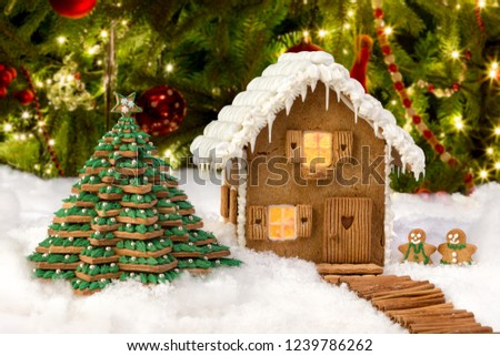 Beautiful Edible Gingerbread Cookie House Snowy Stock Photo Edit