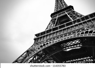 the beautiful Eiffel tower in black and white.