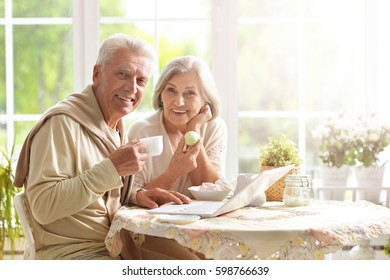 Beautiful elderly couple having breakfast
