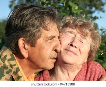 Beautiful elderly happy couple