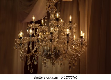 Beautiful electric chandelier on a dark background