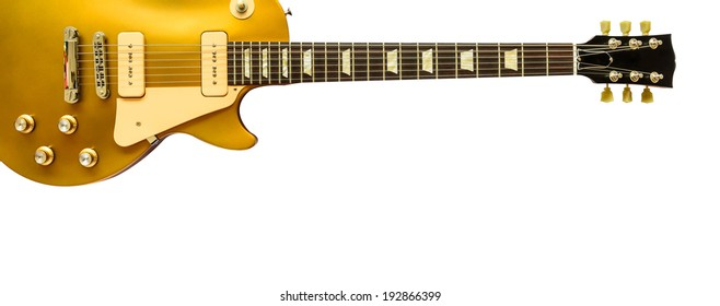 Beautiful electric guitar isolated on white background.