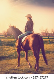 Beautiful elegance back woman cowgirl, riding a horse. Clothed blue jeans, brown leather jacket and hat. Has slim sport body. Portrait nature. People and animals. Equestrian. Amazing sunset.