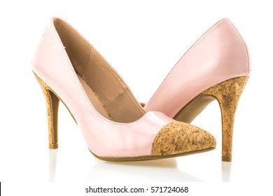 Beautiful elegance and luxury pink high heel isolated on white background