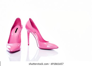 Beautiful Elegance and Luxury Pink High Heel Isolated on White Background. - Image