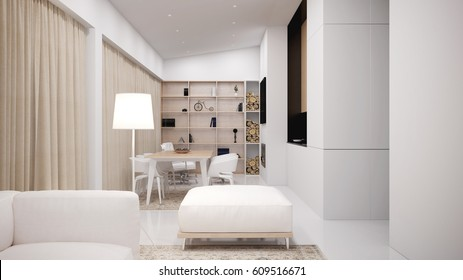 Beautiful and elegant interior of the living room - 3 d render using 3 d s Max