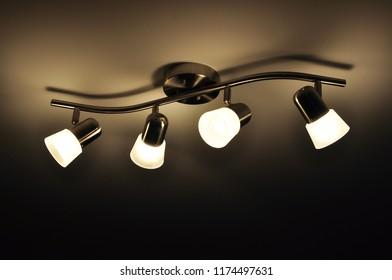 Beautiful elegant lamps in the ceiling