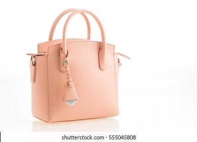 Beautiful elegant and luxury fashion leather pink women handbag isolated on white background