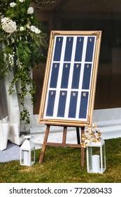 Beautiful elegant stylish wedding guest table list.