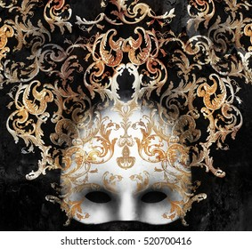 Beautiful and elegant Venetian mask with a rich baroque decor on black background