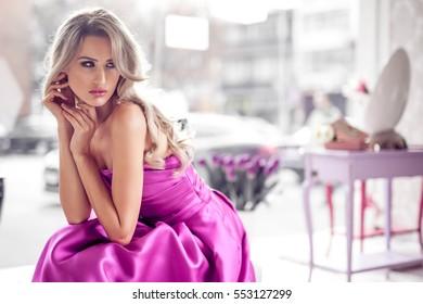 Beautiful elegant woman in modern home