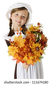 "A beautiful elementary ""pilgrim"" girl happily holding out a bouquet of autumn flowers, leaves and berries for the viewer.  On a white background."