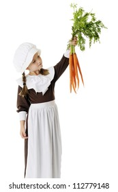 A beautiful elementary Pilgrim girl looking over the fresh carrots they'll be using for Thanksgiving.  On a white background.