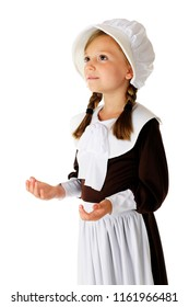 """A beautiful elementary """"pilgrim"""" looking heavenward as she gives thanks to the Lord.  On a white background."""