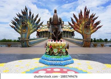 Beautiful elephant mosaic shrine with the great naga bridge at Wat Ban Rai Buddhist temple in Dan Khun Thot