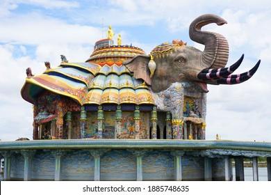 Beautiful elephant mosaic shrine at Wat Ban Rai Buddhist temple in Dan Khun Thot