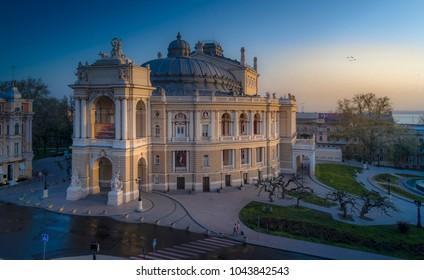 Beautiful elevated drone image of the Odessa Opera House Ukraine at sunrise.