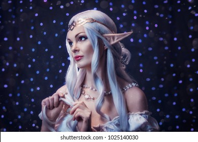 beautiful elven princess with white hair in the crown