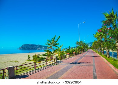 Beautiful embankment for walking and sport in Alanya Turkey. Toned.