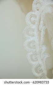 Beautiful embroidery pattern used as a component in bridal gown for wedding ceremony.