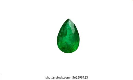 Beautiful emerald drop shape green gemstone isolated on white background
