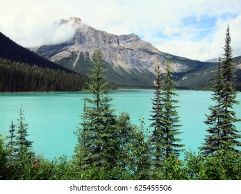 Beautiful Emerald lake in Canadian Rockies