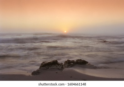 Beautiful, Empty Atlantic Ocean Beach After Sunset