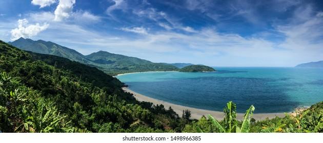 Beautiful empty blue island beach in Soutastasia, close to Da Nang, Vietnam; Island Vacation